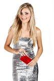 Femme avec le cadre de cadeau Image libre de droits