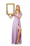 Femme avec le cadre de tableau Photos stock