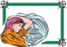Femme avec le cadre floral photos libres de droits