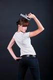Femme avec le canon photo libre de droits