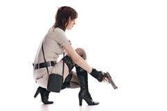 Femme avec le canon Images stock