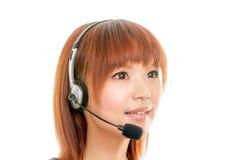 Femme avec le casque Photographie stock libre de droits