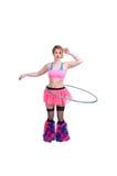 Femme avec le cercle de danse polynésienne Images stock