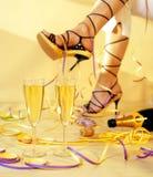 Femme avec le champagne Photographie stock libre de droits