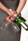 femme avec le champagne Images stock