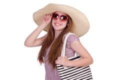 Femme avec le chapeau Photo stock