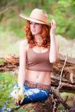 Femme avec le chapeau de cowboy Photo libre de droits
