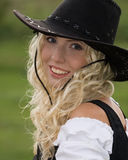 Femme avec le chapeau de cowboy Image libre de droits