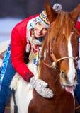 Femme avec le cheval Photographie stock libre de droits