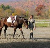 Femme avec le cheval de Brown dans l'automne Photos stock