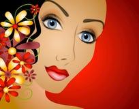 Femme avec le cheveu 2 de fleurs illustration stock