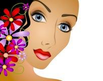Femme avec le cheveu de fleurs illustration de vecteur