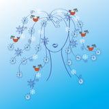Femme avec le cheveu de l'hiver Image stock