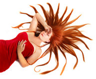 Femme avec le cheveu de rouge de starburst Images libres de droits