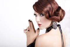 Femme avec le cheveu rouge Images libres de droits