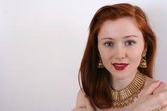 Femme avec le cheveu rouge Images stock