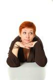Femme avec le cheveu rouge Photos stock