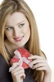 Femme avec le coeur Photo stock