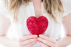 Femme avec le coeur d'amour Image stock