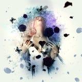 Femme avec le coeur ensanglanté noir illustration libre de droits