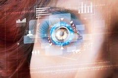 Femme avec le concept de panneau d'oeil de technologie de cyber images libres de droits