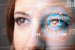 Femme avec le concept de panneau d'oeil de technologie de cyber Photos libres de droits