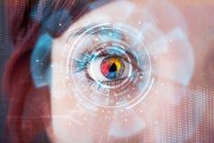 Femme avec le concept de panneau d'oeil de technologie de cyber Photo stock
