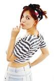 Femme avec le doigt à la bouche montrant le signe de silence Photographie stock libre de droits