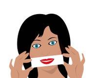 Femme avec le faux sourire Photographie stock libre de droits