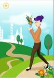 Femme avec le flowerpot illustration de vecteur