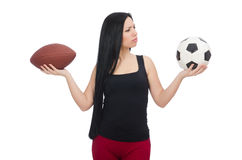 Femme avec le football d'isolement sur le blanc Photo stock