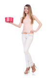 Femme avec le giftbox d'isolement Photographie stock libre de droits