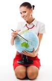 Femme avec le globe Photo stock