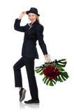 Femme avec le groupe de roses d'isolement sur le blanc Photo stock