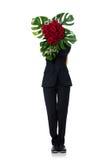 Femme avec le groupe de roses d'isolement sur le blanc Image libre de droits
