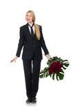 Femme avec le groupe de roses d'isolement sur le blanc Image stock