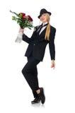 Femme avec le groupe de roses d'isolement sur le blanc Photographie stock