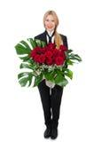 Femme avec le groupe de roses d'isolement sur le blanc Photos stock