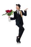 Femme avec le groupe de roses d'isolement sur le blanc Photographie stock libre de droits