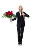 Femme avec le groupe de roses d'isolement sur le blanc Photo libre de droits