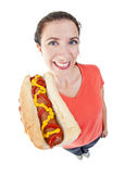 Femme avec le hot dog Photo stock