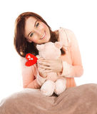 Femme avec le jouet mou Photographie stock