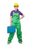 Femme avec le kit d'utilitaires Image libre de droits