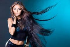 Femme avec le long cheveu Images stock