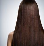 Femme avec le long cheveu droit brun blanc d'isolement de vue arrière Photographie stock libre de droits