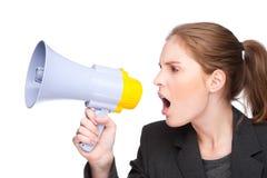Femme avec le mégaphone Image libre de droits