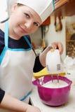 Femme avec le mélangeur Photos stock