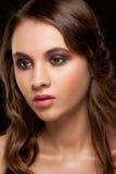 Femme avec le maquillage lumineux Images libres de droits