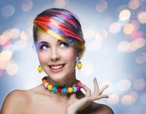Femme avec le maquillage lumineux Image libre de droits