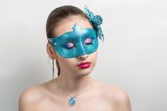 Femme avec le masque bleu Images libres de droits